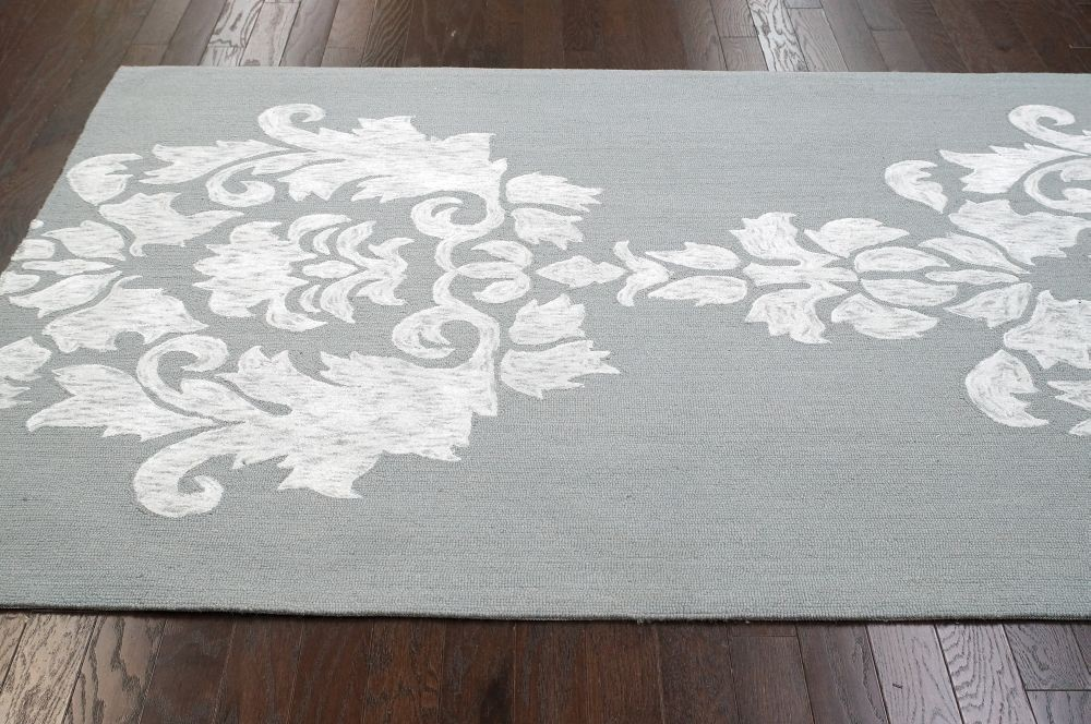 More Views. Contemporary Lt Grey Cotton U0026 Wool Damask VST25 Area Rug ...