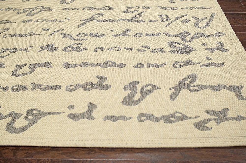 Contemporary Novelty Grey Outdoor Outdoor Script Area Rug
