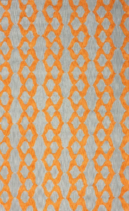 Modern Contemporary Blue Grey Yellow Orange Hand Hooked
