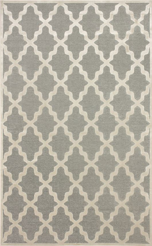 Contemporary Trellis VL06 Area Rug Carpet Light Dark Grey Cream