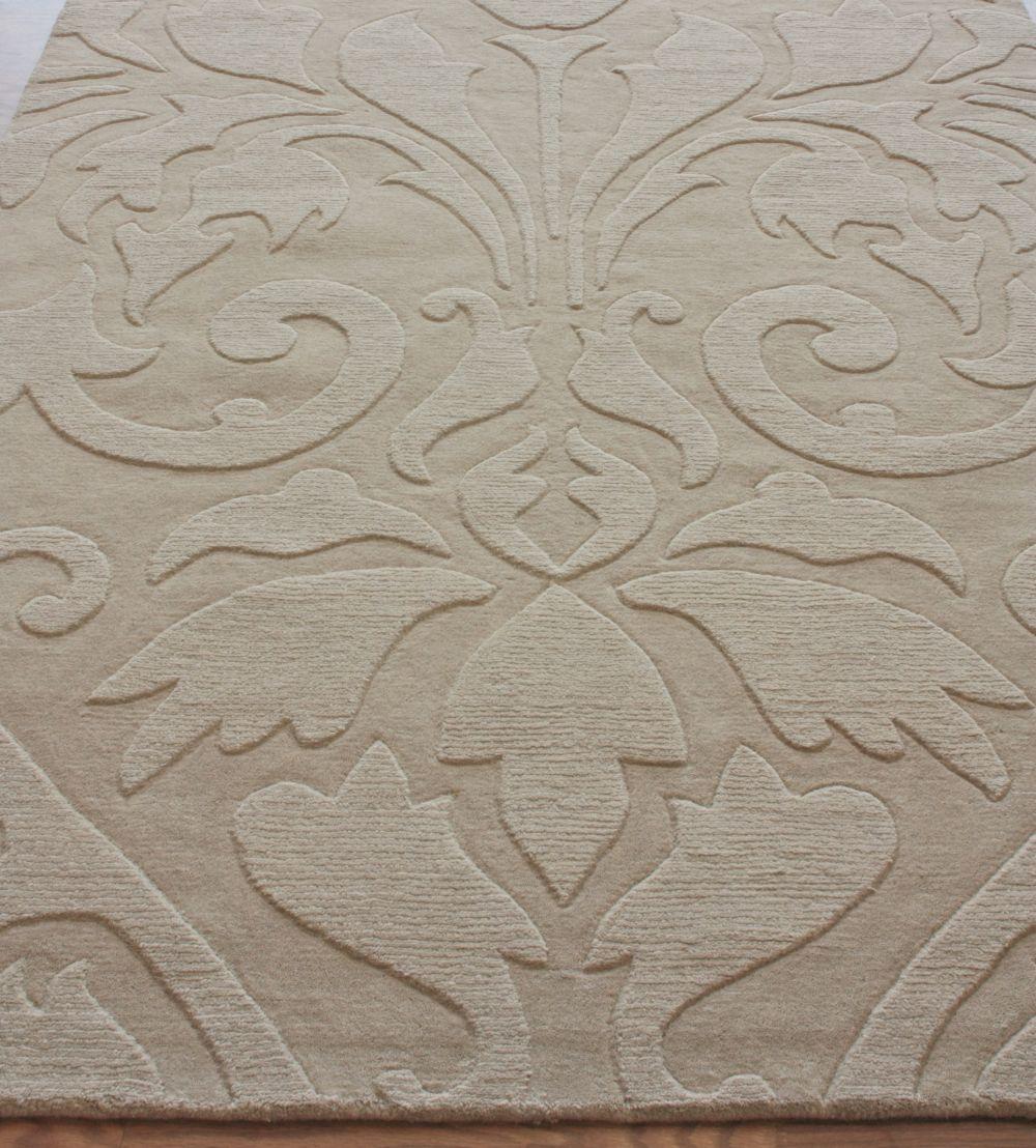New Contemporary Sand Modern Damask Area Rug Carpet Hand