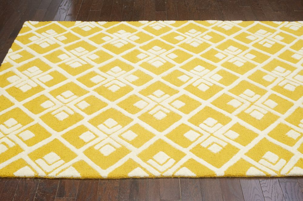 New contemporary yellow grey trellis vs75 area rug carpet for Accent rug vs area rug
