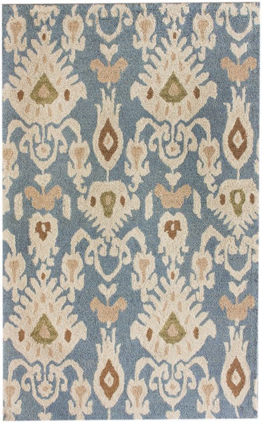 Transitional Antique Ikat Light Dark Blue Ivory Area Rug